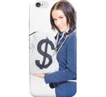 Successful Business Woman Holding Bags Of Money iPhone Case/Skin