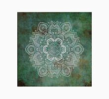 White Floral Mandala on Green textured Background Classic T-Shirt