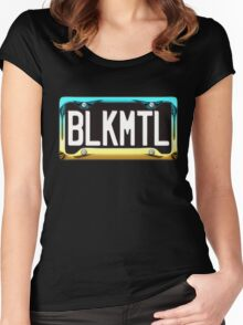 SHINY BLUE/GOLD LICENSE PLATE HOLDER WITH BLACK PLATE - HVYMTL Women's Fitted Scoop T-Shirt