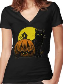 Still Life with Feline & Gourd Women's Fitted V-Neck T-Shirt