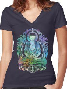 Gautama Buddha Cool Galaxy Women's Fitted V-Neck T-Shirt