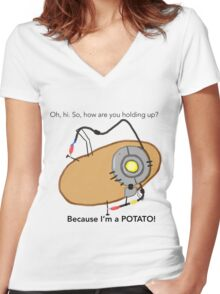 GladOs Potato Women's Fitted V-Neck T-Shirt