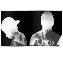Twenty one Pilots Josh and Tyler outline Poster