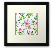 Forget-me-nots and pink roses seamless vector print Framed Print