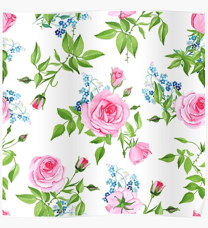 Forget-me-nots and pink roses seamless vector print Poster