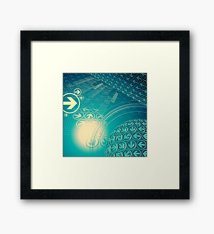 green arrow motion with Business background Framed Print