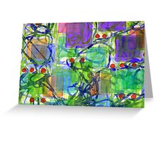 Squares with Tangles and Red Points Greeting Card