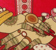Indian Brides hands with henna tattoos Sticker