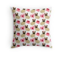 Valentine Pugs and Hearts 2 Throw Pillow