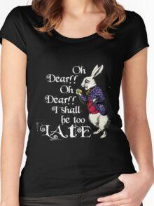 Wonderland White Rabbit Women's Fitted Scoop T-Shirt