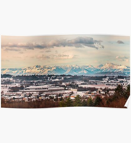 italian fields with snow Poster