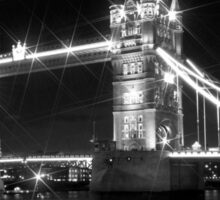 LONDON Tower Bridge at Night black & white Sticker