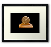 Israeli Priestly Blessing bronze Medal on black background Framed Print