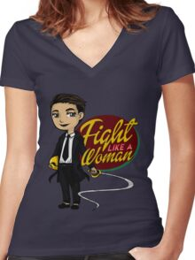 Fight Like a Woman (Saga: The Brand) Women's Fitted V-Neck T-Shirt