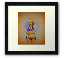 Zienna, Cheeky in Blue 2 Framed Print