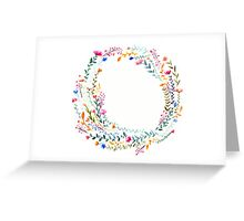 Watercolor Rainbow Flower Wreath Greeting Card