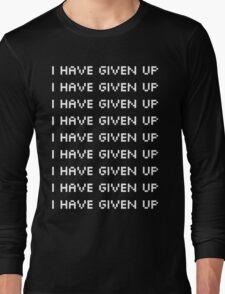 "Broken Pixel - Mulitple ""I Have Given Up"" White Long Sleeve T-Shirt"