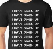 "Broken Pixel - Mulitple ""I Have Given Up"" White Unisex T-Shirt"