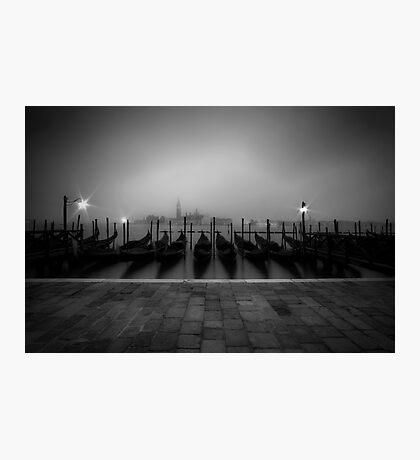 VENICE Gondolas on a foggy morning Photographic Print