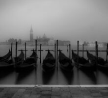 VENICE Gondolas on a foggy morning Sticker