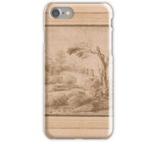 Giovanni Francesco Barbieri, called Il Guercino, Landscape with Five Figures and Fence iPhone Case/Skin