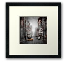 City-Art NYC 5th Avenue Yellow Cab Framed Print