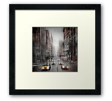 City-Art NYC 5th Avenue Yellow Cabs Framed Print