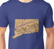 Connecticut Map with State Name:  The Constitution State Unisex T-Shirt