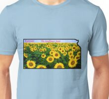 Kansas Map with State Nickname:  The Sunflower State Unisex T-Shirt