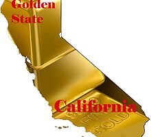 California Map with State Nickname:  The Golden State by Havocgirl