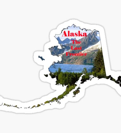 Alaska Map with State Nickname:  The Last Frontier Sticker