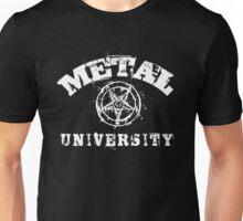 METAL UNIVERSITY - white letters Unisex T-Shirt