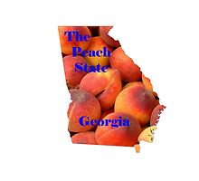 Georgia Map with State Nickname:  The Peach State by Havocgirl