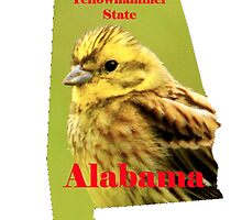 Alabama Map with State Nickname:  The Yellowhammer State by Havocgirl