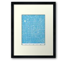 Beijing map blue Framed Print