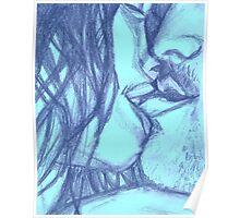 In the Dark She Bites My Lip- Blue Poster