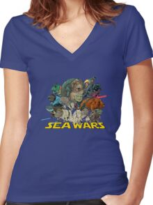 SEA WARS! Women's Fitted V-Neck T-Shirt