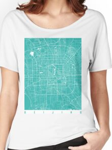 Beijing map turquoise Women's Relaxed Fit T-Shirt