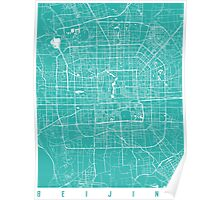 Beijing map turquoise Poster