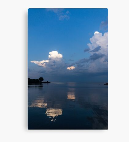 Cool Pearly Clouds Over the Lake Canvas Print