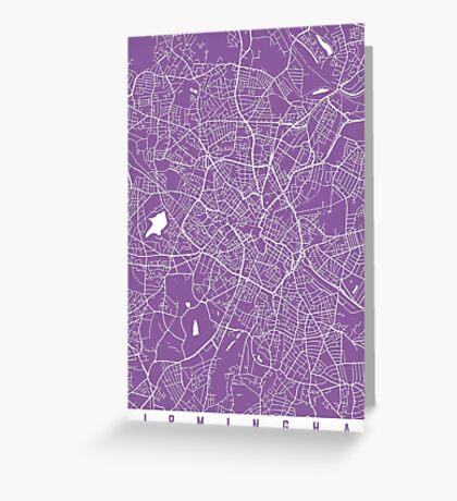 Birmingham map lilac Greeting Card