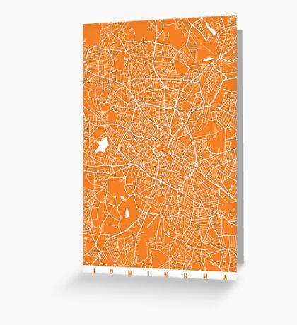 Birmingham map orange Greeting Card