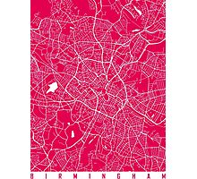 Birmingham map raspberry Photographic Print
