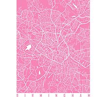Birmingham map pink Photographic Print