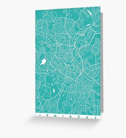 Birmingham map turquoise Greeting Card
