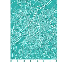 Brussels map turquoise Photographic Print