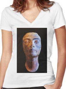 Unfinished Nefertiti Women's Fitted V-Neck T-Shirt