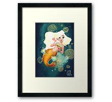 Ariana the Golden Mermaid Framed Print