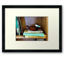 Duck Decoy on Bookshelf Framed Print