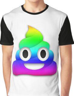 Rainbow Smiling Poop Emoji Graphic T-Shirt